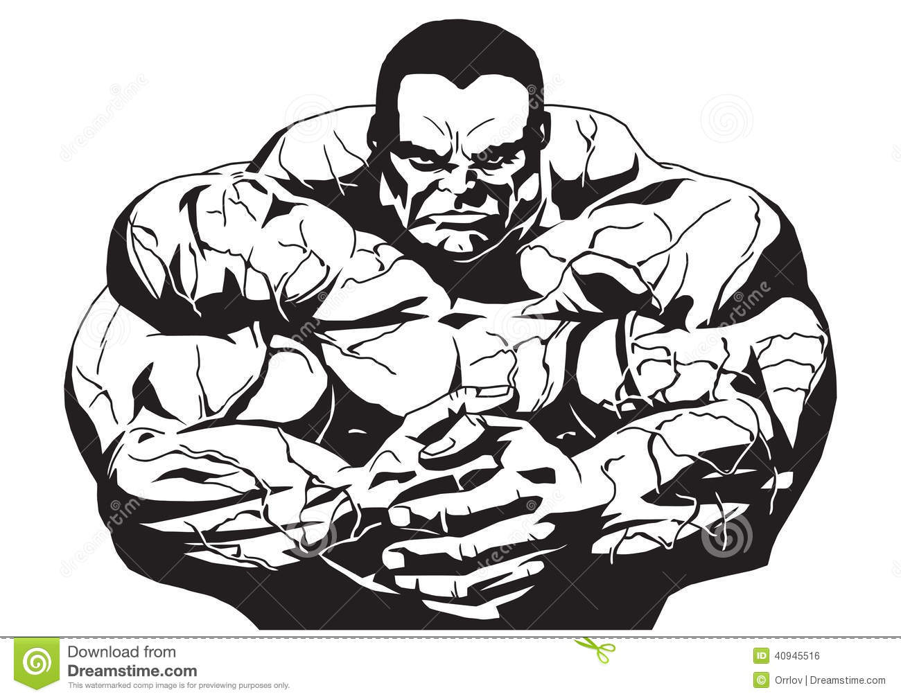 Muscular Bodybuilder Stock Vector Image Of Outline