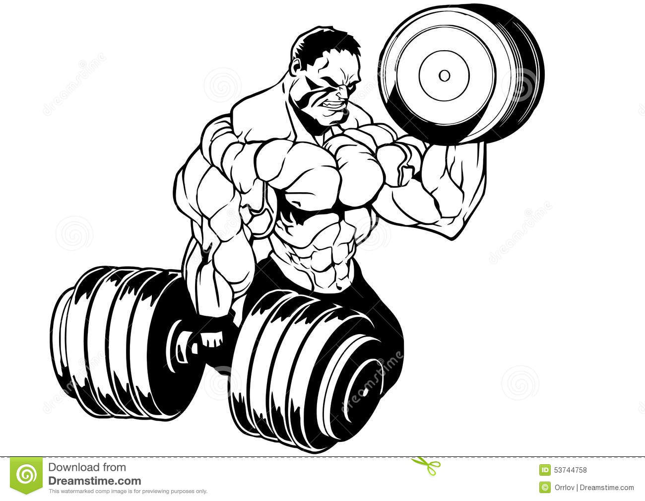 Muscular Bodybuilder Workout Stock Vector