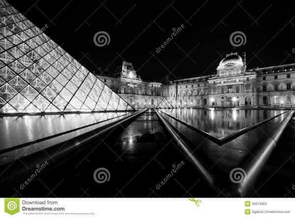 Musee Louvre In Paris Night Editorial Stock