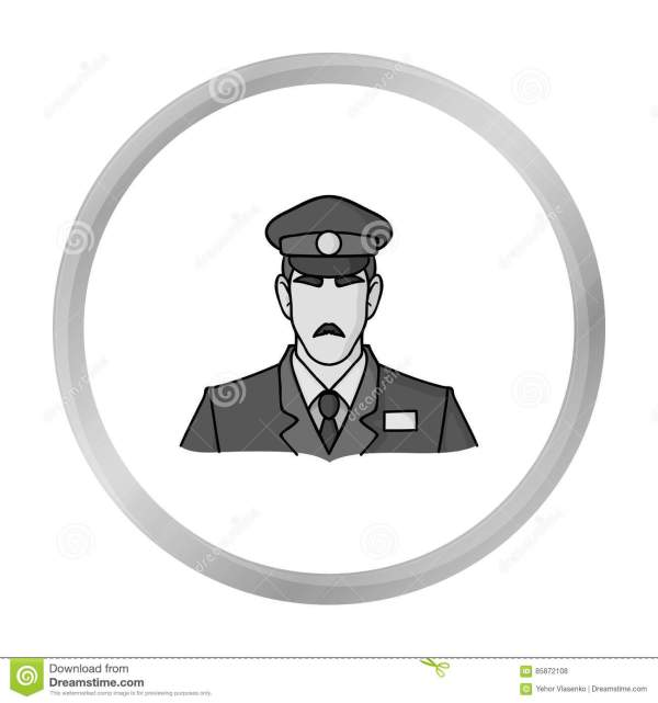 Museum Security Guard Icon In Monochrome Style Isolated