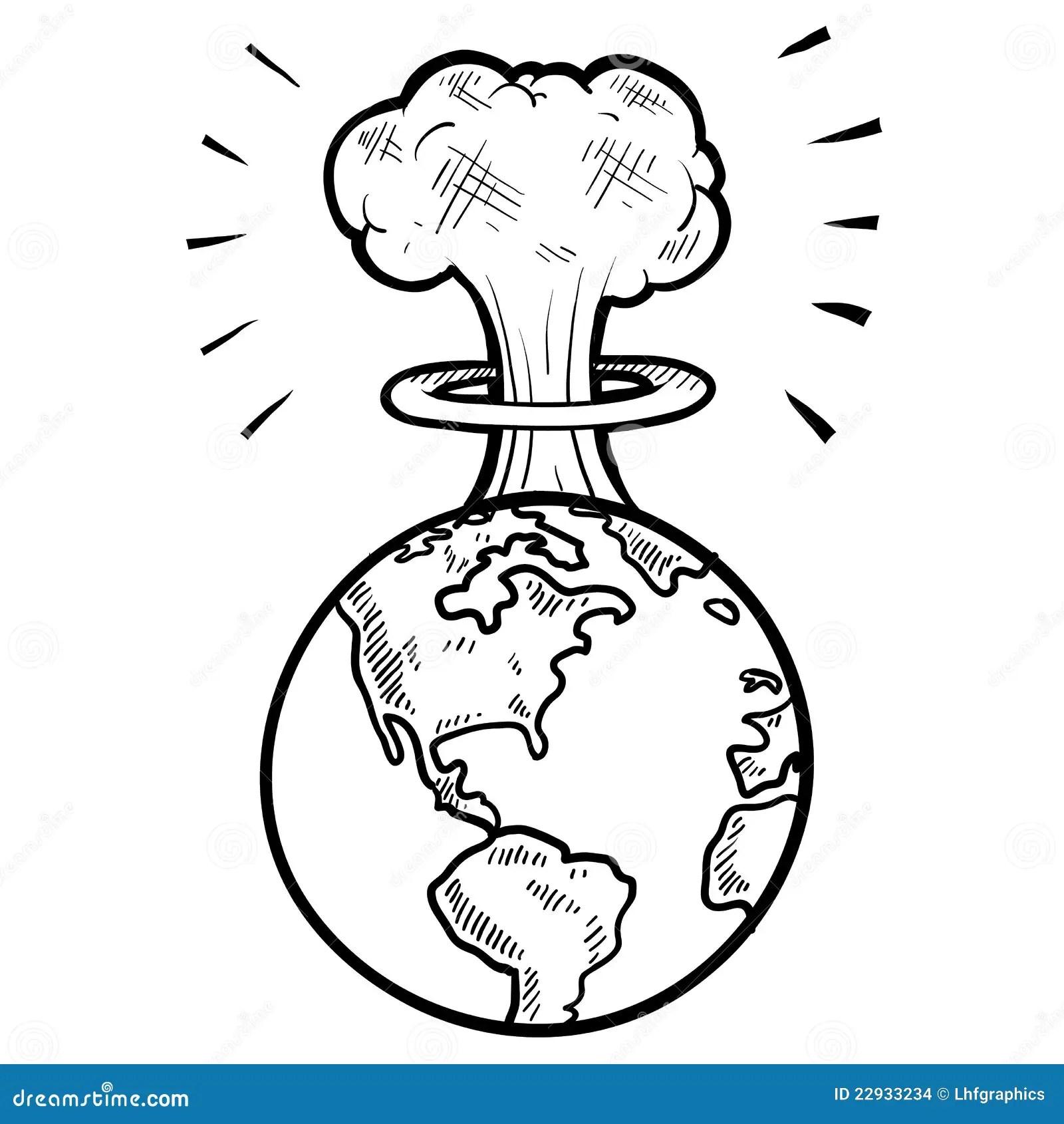 Mushroom Cloud Sketch Stock Vector Illustration Of