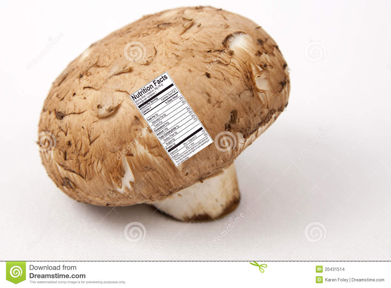 Mushroom With Nutrition Label Stock Images