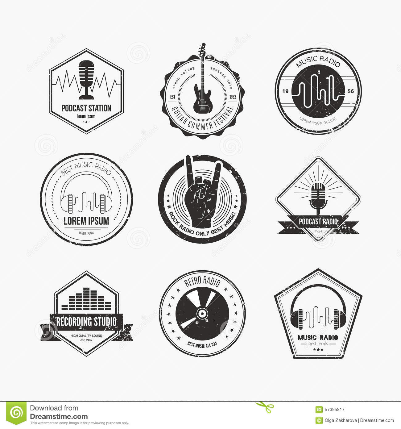 Music Label stock vector. Image of broadcasting, logotypes