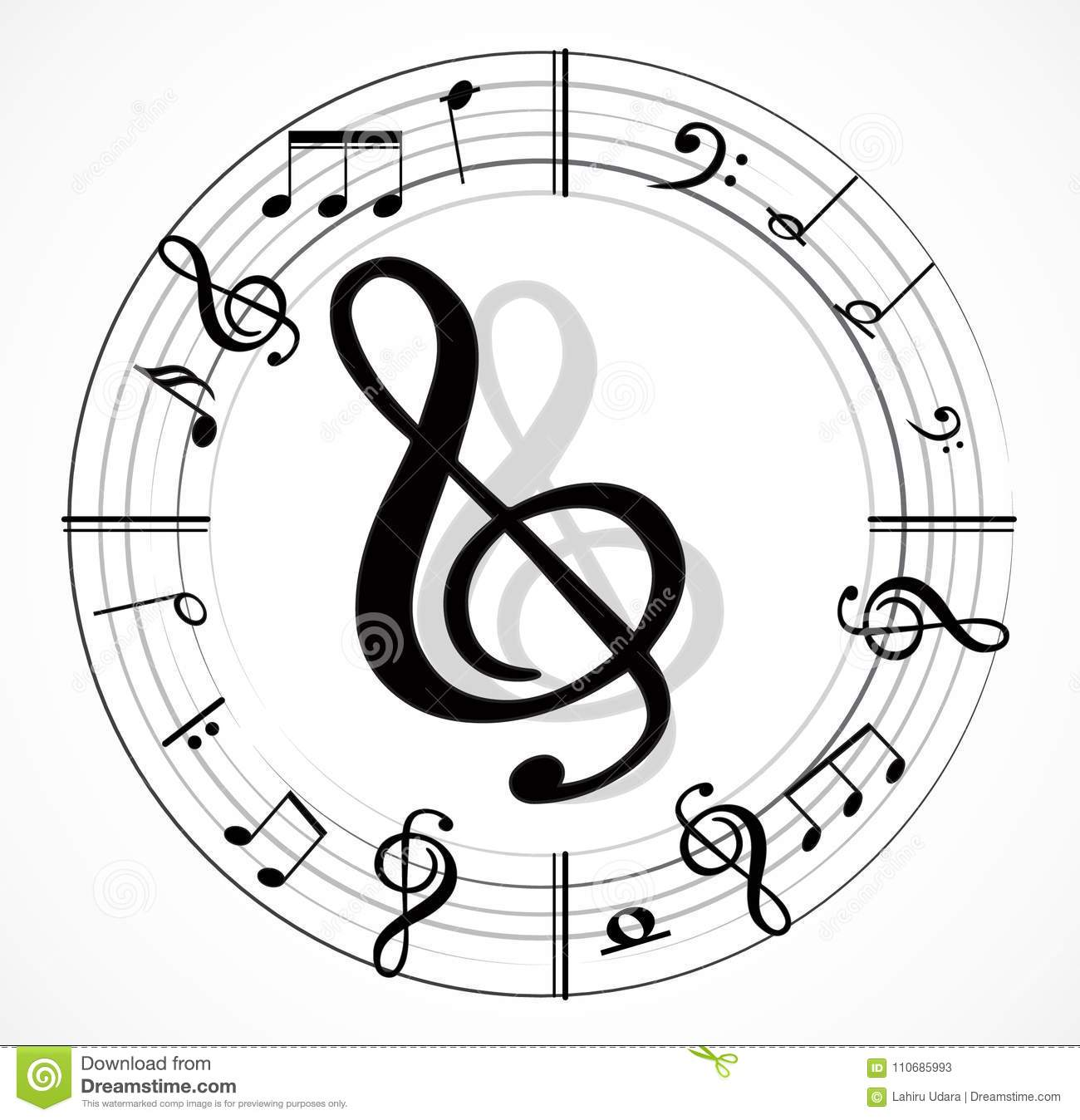 Music Note Background With Symbols Stock Vector