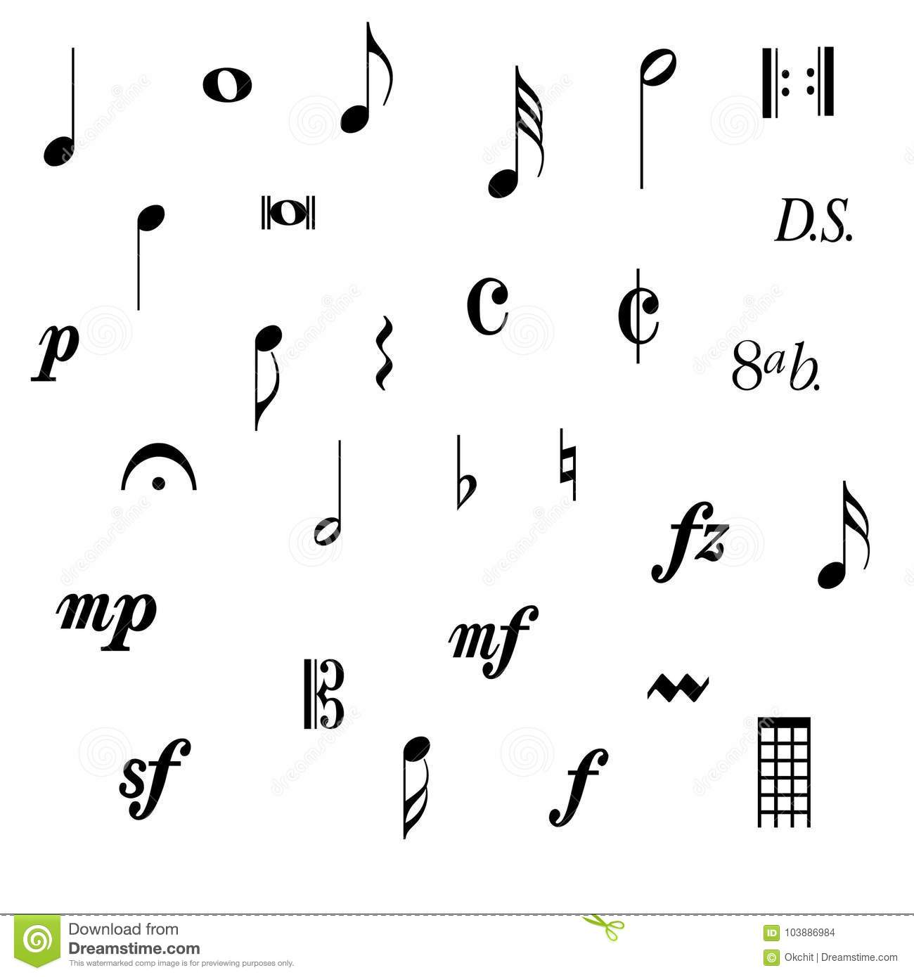 Music Note Symbols stock vector. Illustration of stave