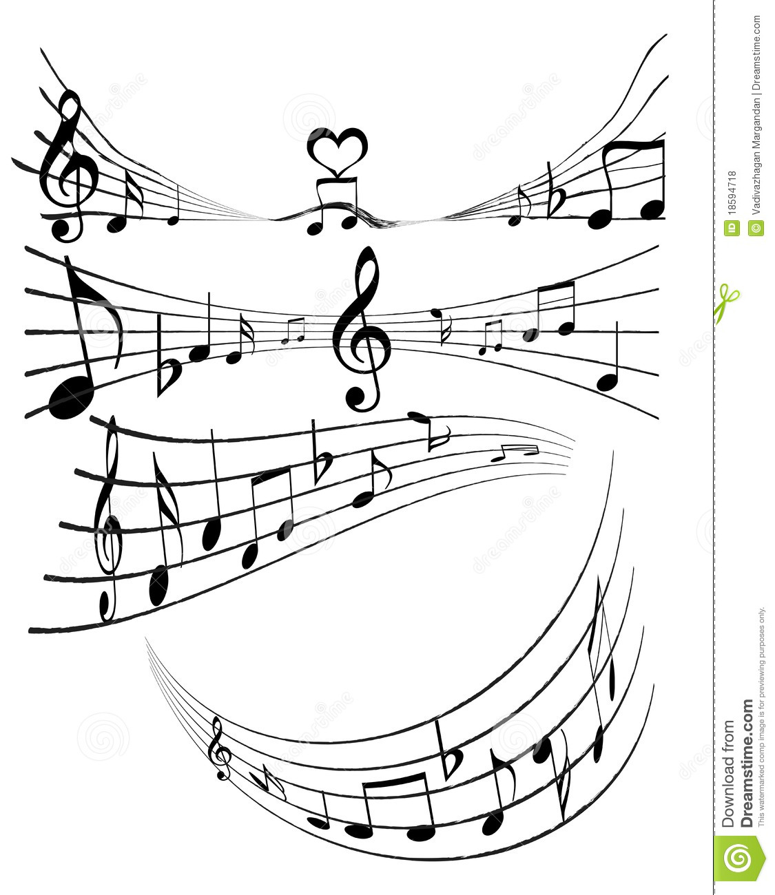 Music notes stock illustration. Image of isolated, half