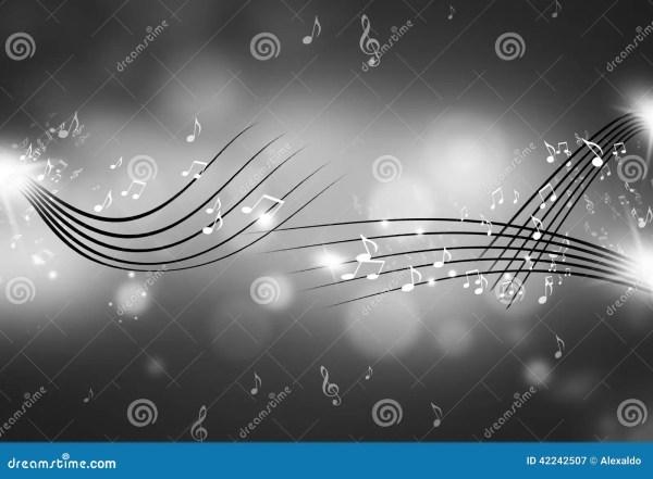 Music Notes Black And White Background Stock Illustration