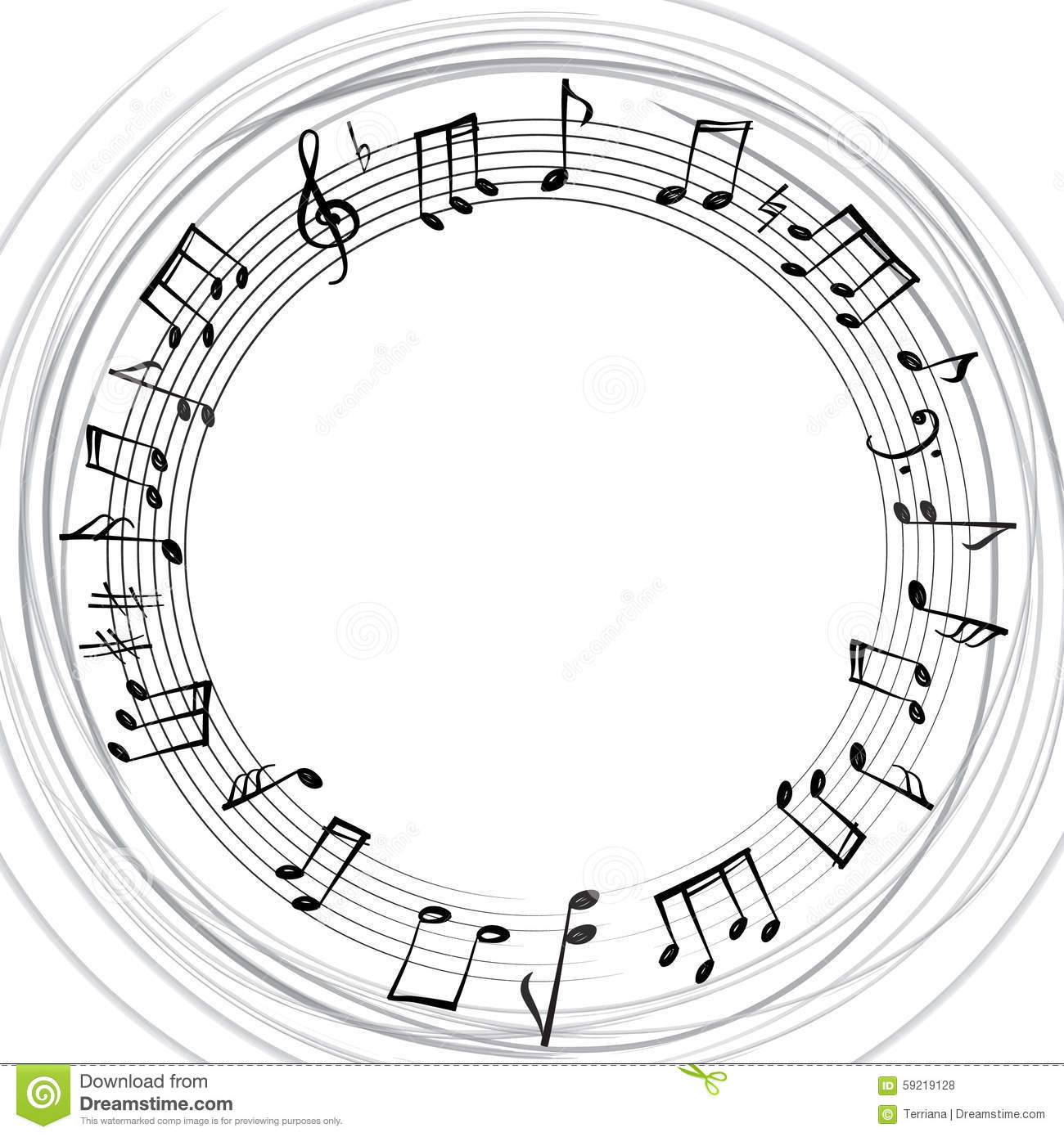 Music Notes Border. Musical Background. Music Style Round