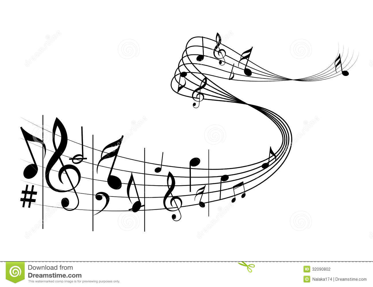 Music notes stock vector. Image of party, instrument