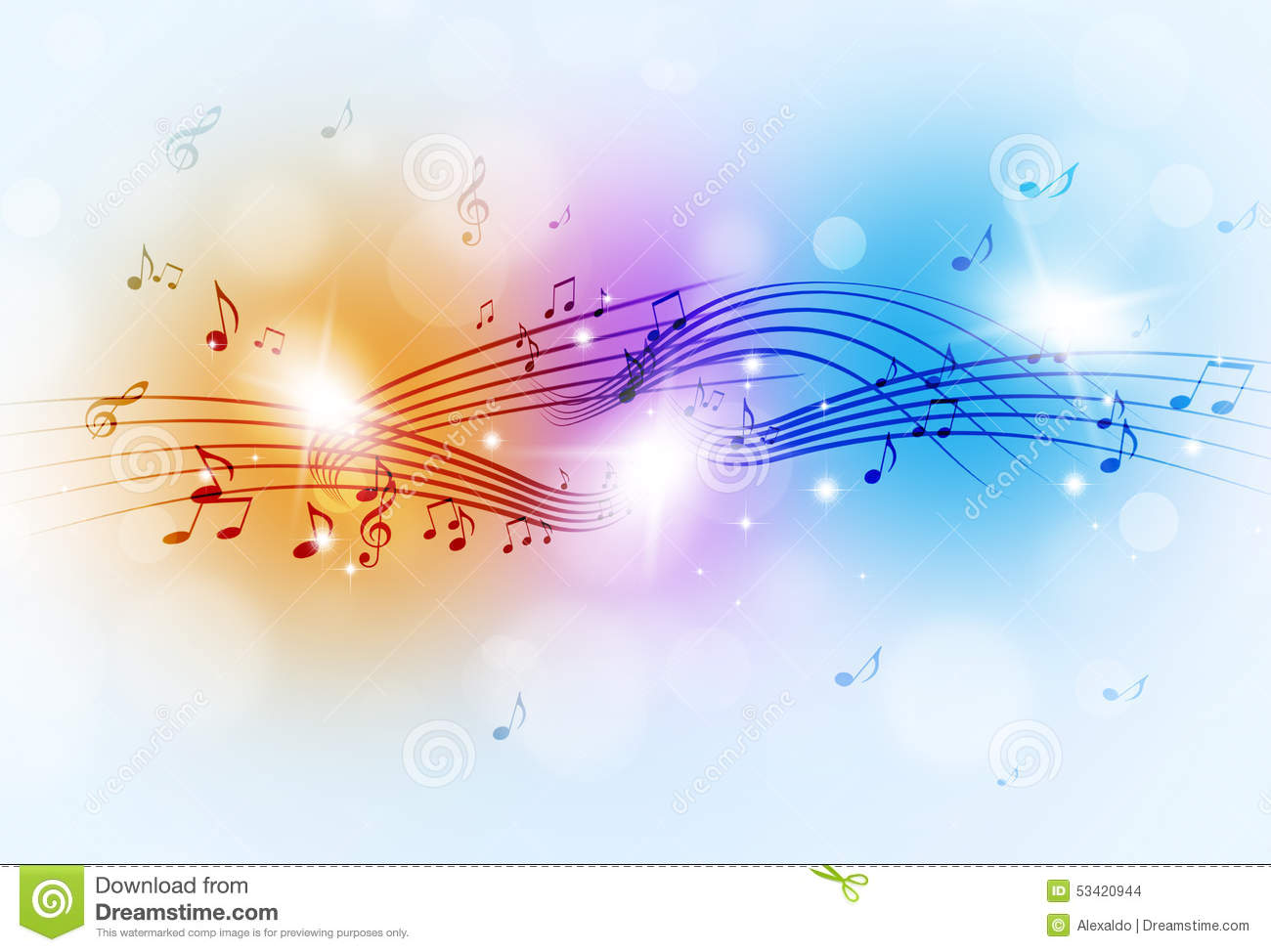 Music Notes Multicolor Background Stock Photo  Image