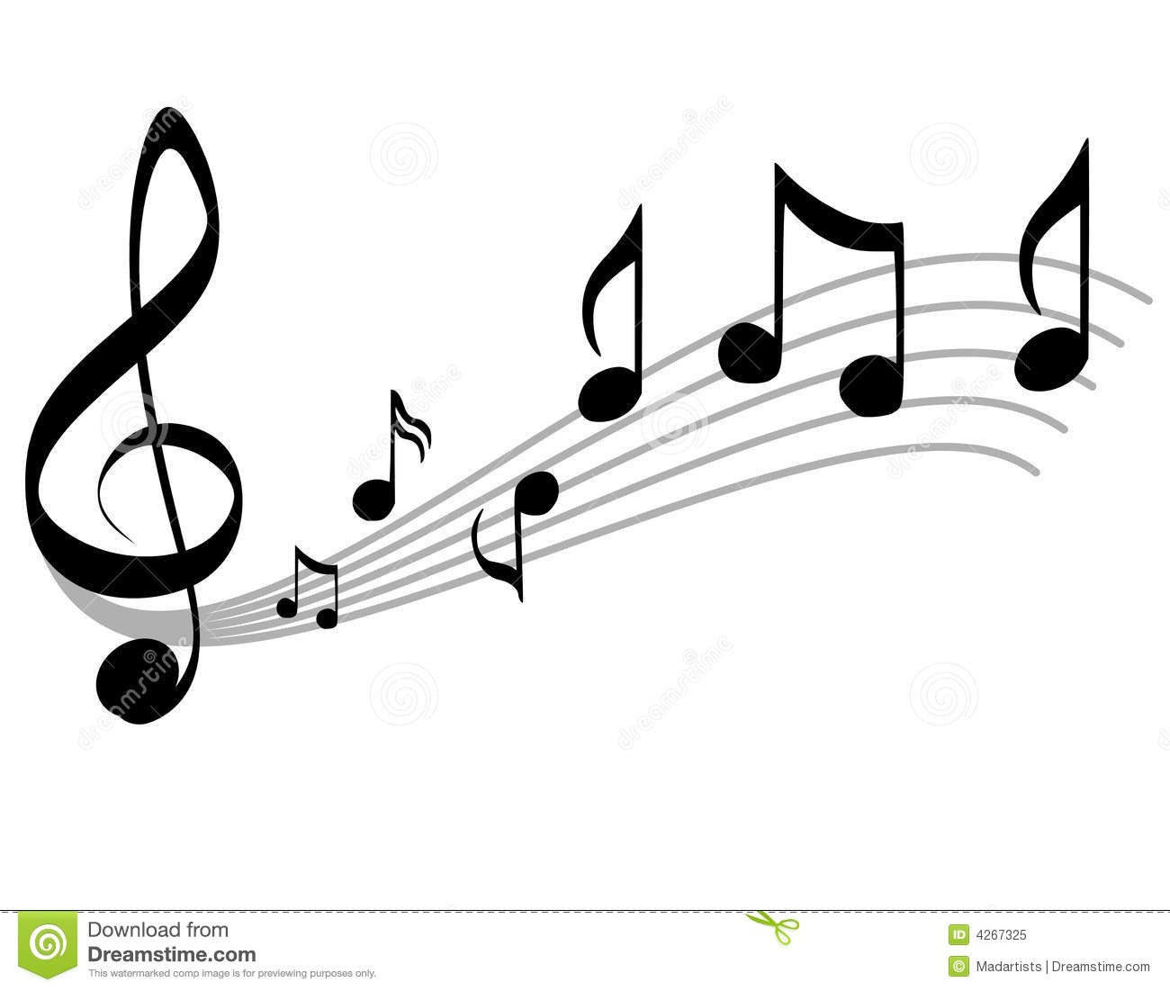 Music Notes Scale And Treble Clef Royalty Free Stock Photo