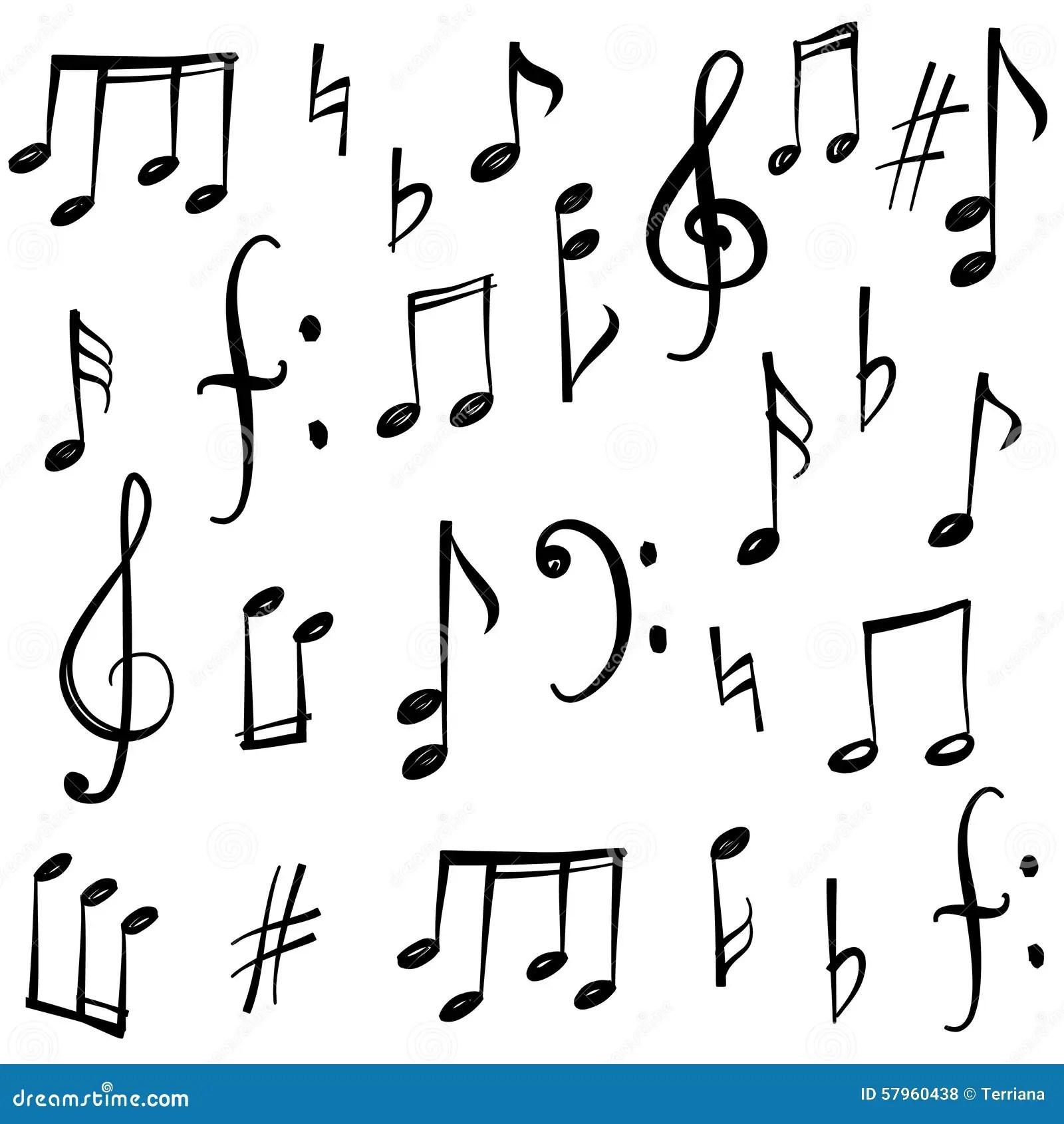 Hand Drawn Music Set Cartoon Vector