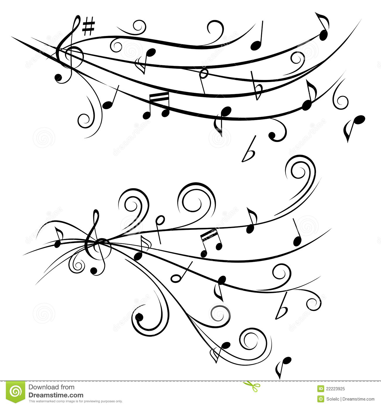 Music Notes On Staff Stock Vector Illustration Of