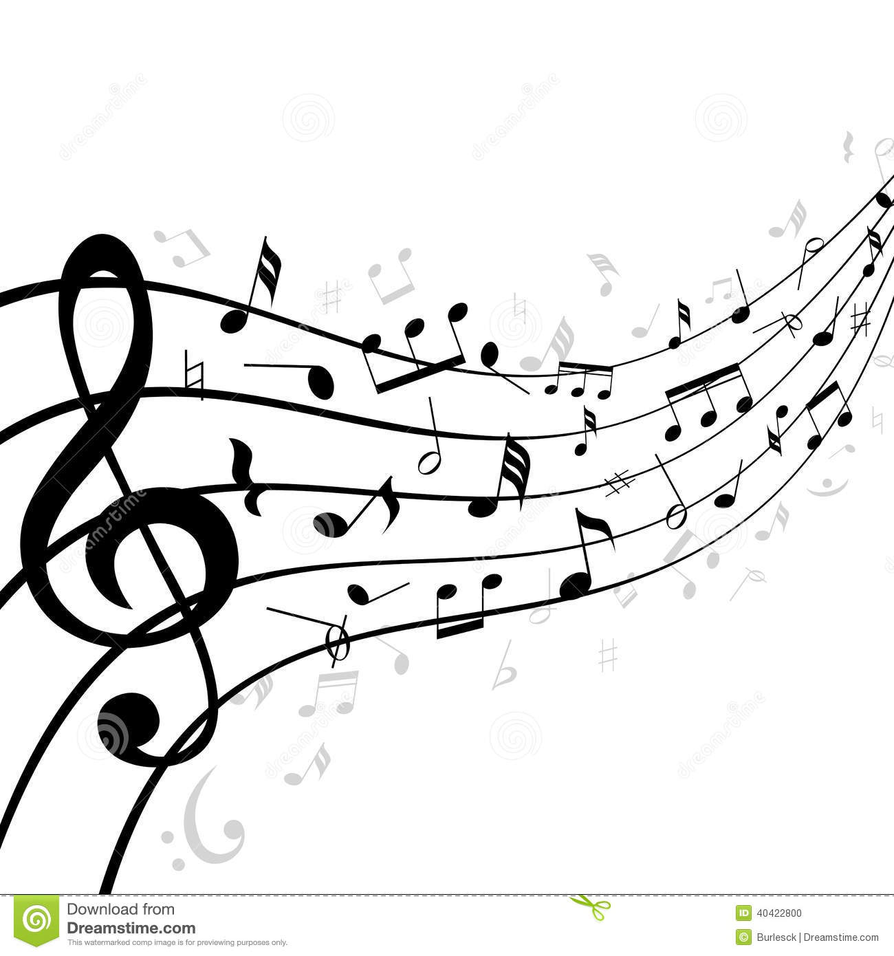 Music Notes On A Stave Or Staff Vector Illustration