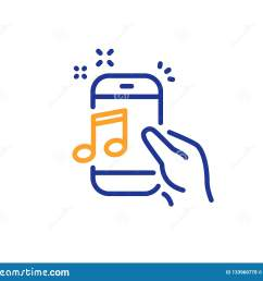music in phone line icon mobile radio sign musical device symbol colorful outline concept blue and orange thin line color icon music phone vector [ 1600 x 1383 Pixel ]