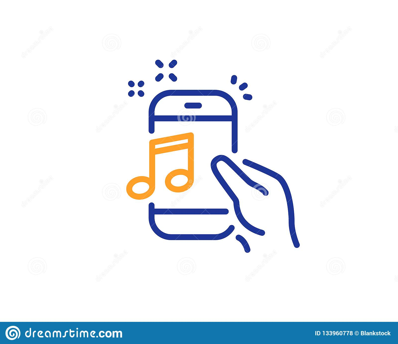 hight resolution of music in phone line icon mobile radio sign musical device symbol colorful outline concept blue and orange thin line color icon music phone vector