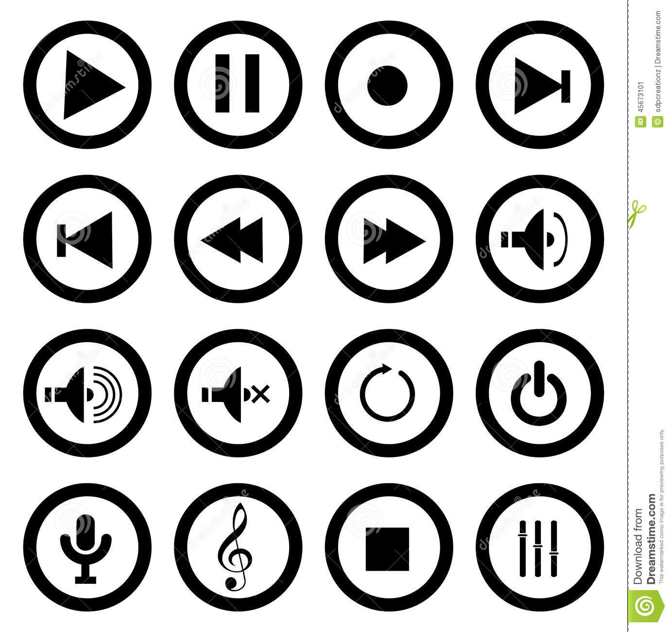 Music play icons stock vector. Image of internet, graphic