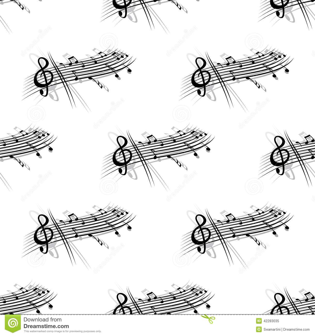 Music Score And Notes Background Seamless Pattern Stock