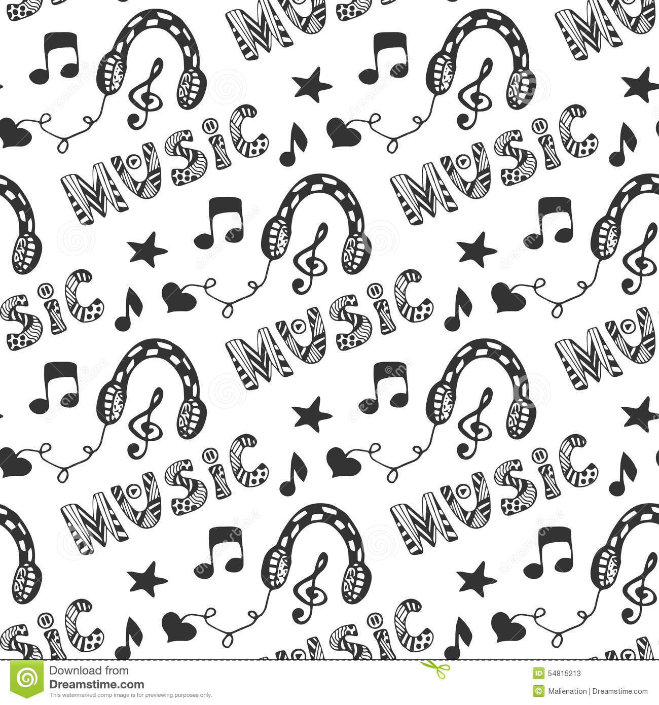 Music Seamless Pattern With Hand Drawn Headphones And
