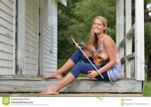 Music Series - Outdoor Violin Fiddle Player Stock