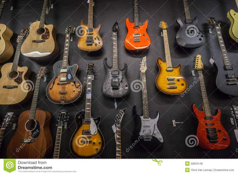 music shop guitars editorial photo. image of image, close - 32634146