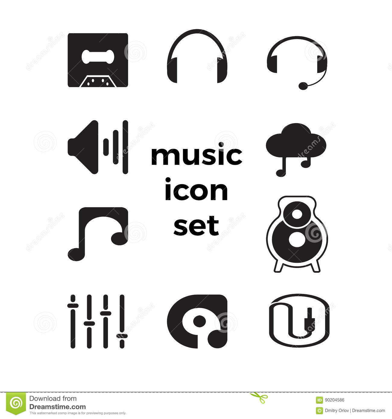 Music Simple Icons Set.Icons For Mobile Applications