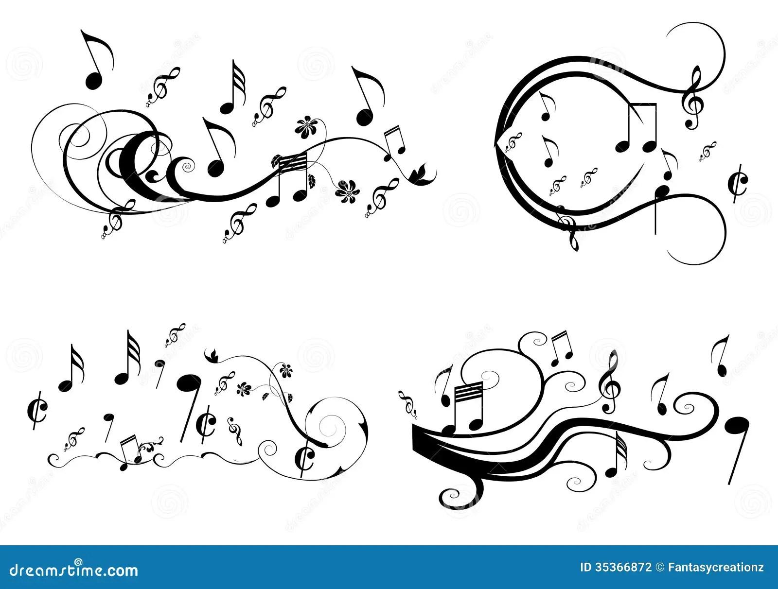 Music Swirl Stock Vector Illustration Of White Crotchets