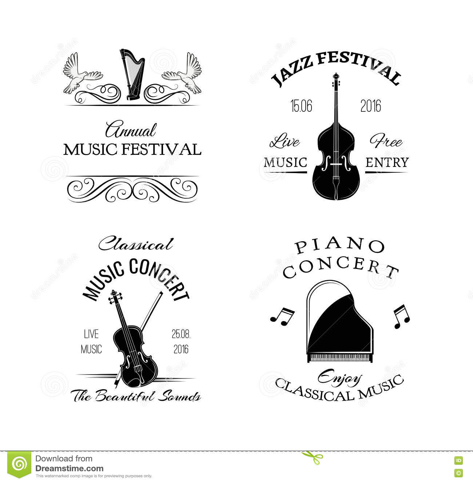Music Vintage Retro Label. Violin, Harp, Piano. Festival