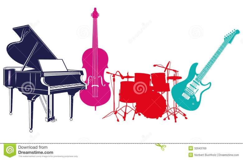 musical band instruments stock vector. illustration of different