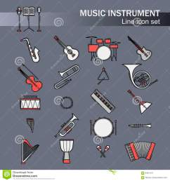 musical colorful instruments icons set vector classic element illustration saxophone cello horn guitar piano [ 1300 x 1390 Pixel ]