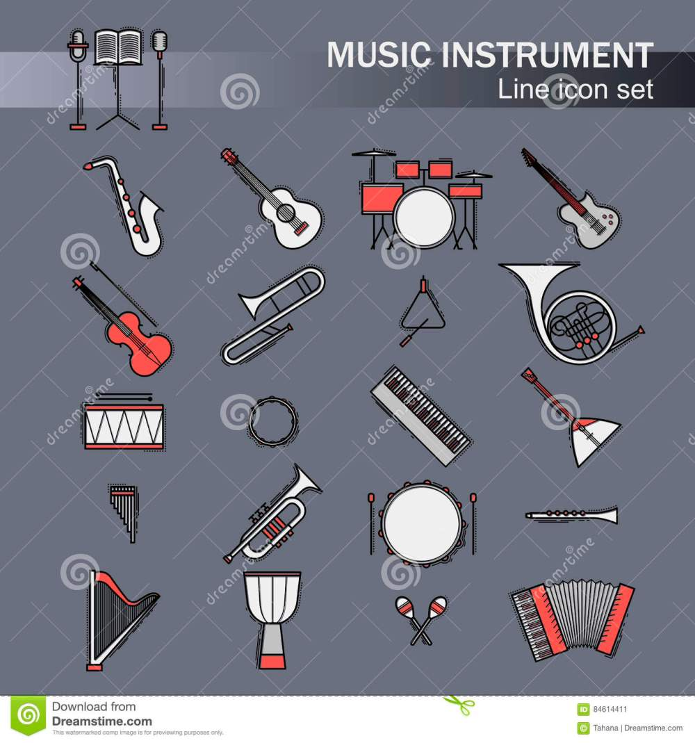 medium resolution of musical colorful instruments icons set vector classic element illustration saxophone cello horn guitar piano