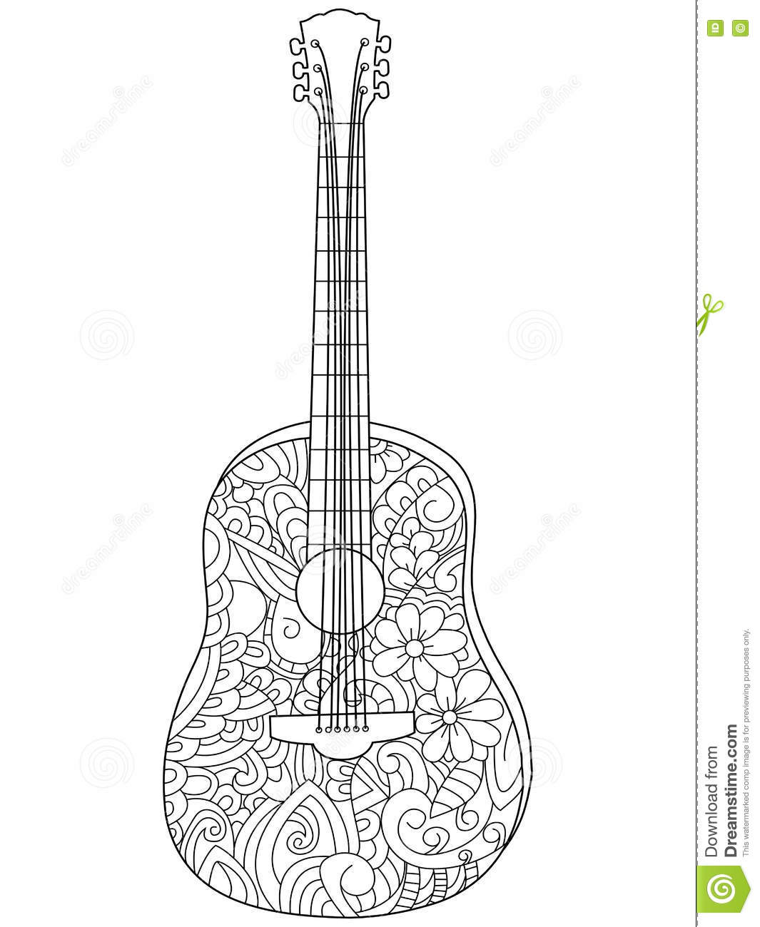 Musical Instrument Guitar Coloring Book Vector For Adults Stock Vector