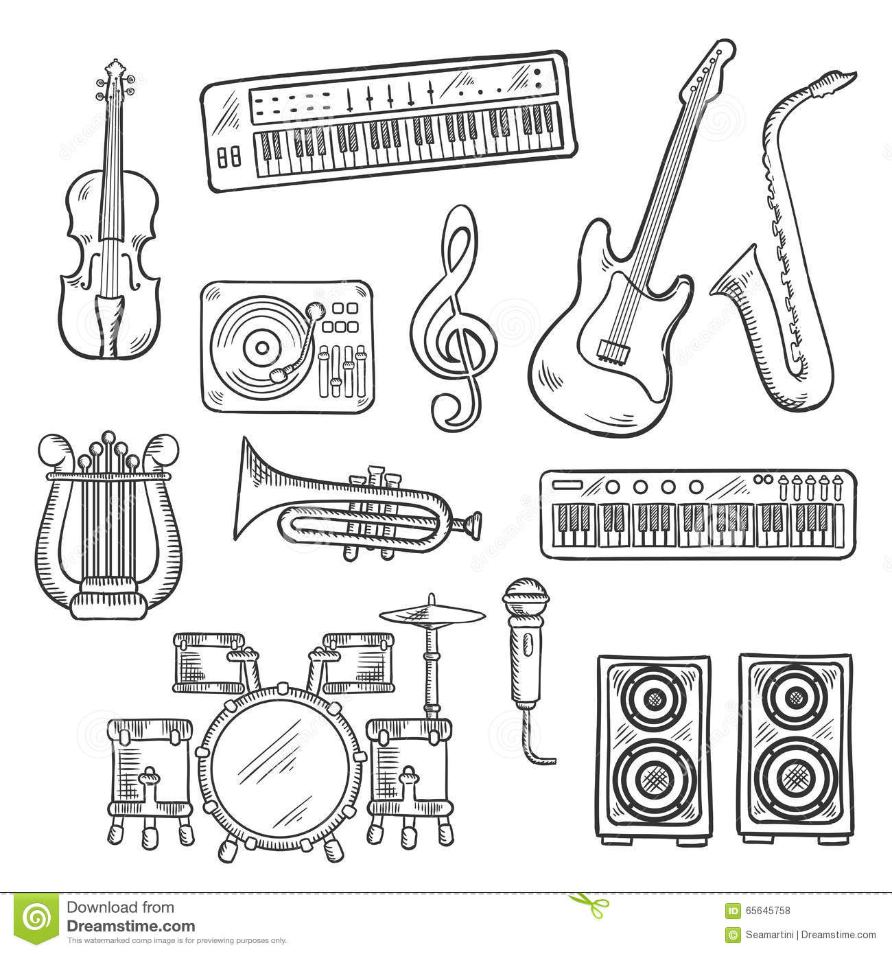 Musical Instruments And Equipments Sketches Stock Vector