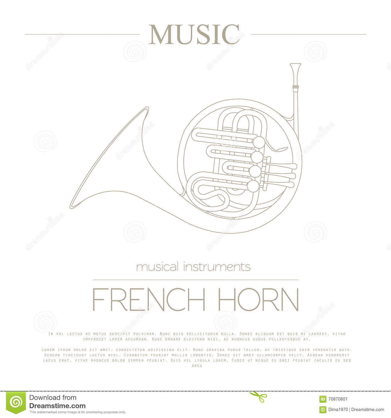 hight resolution of musical instruments graphic template french horn