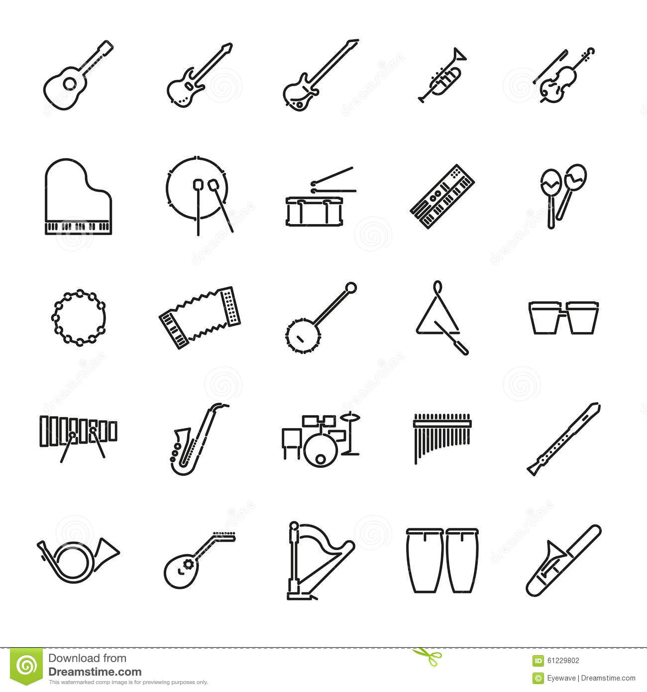 Musical Instruments Line Icon Vector Set Stock Vector