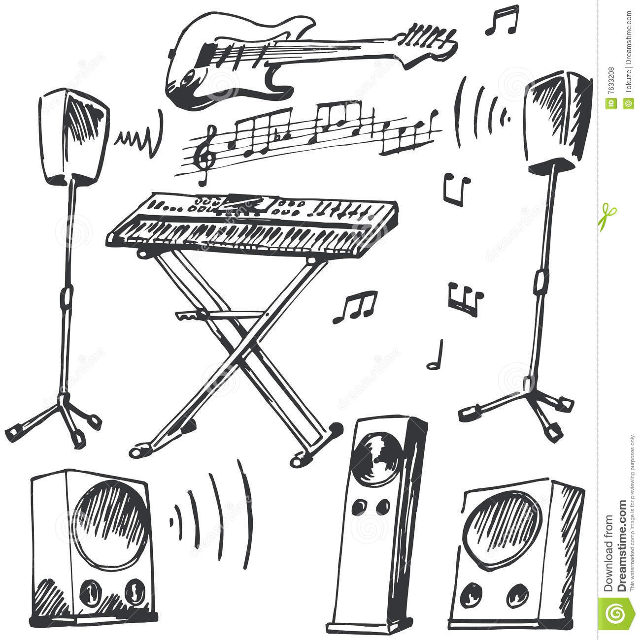 Musical Instruments And Loudspeakers Doodles Stock Vector