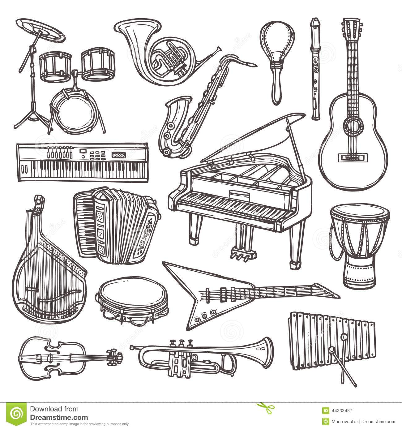 Musical Instruments Sketch Icon Stock Vector