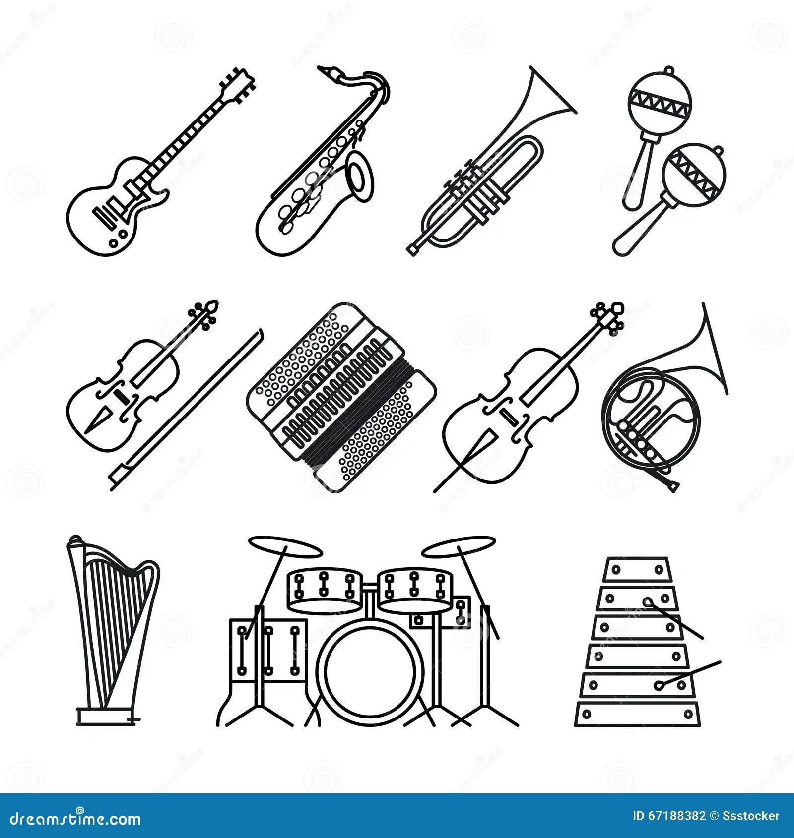Musical Instruments Icons Set, Outline Cartoon Cartoon
