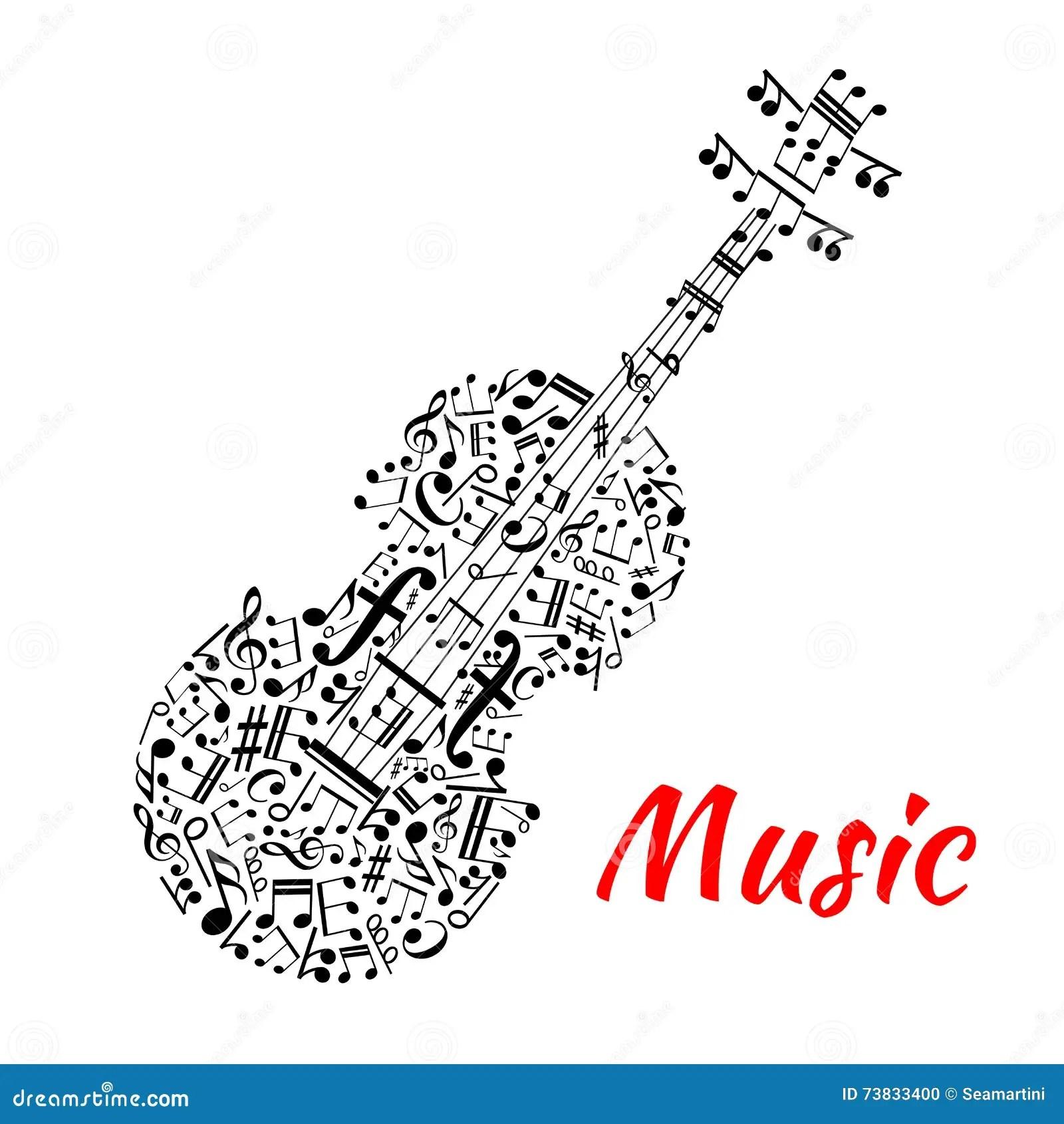 Musical Notes And Symbols Shaped Like A Violin Stock