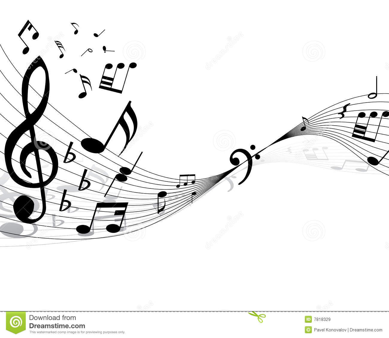 Musical staff stock vector. Image of lines, curves, minims