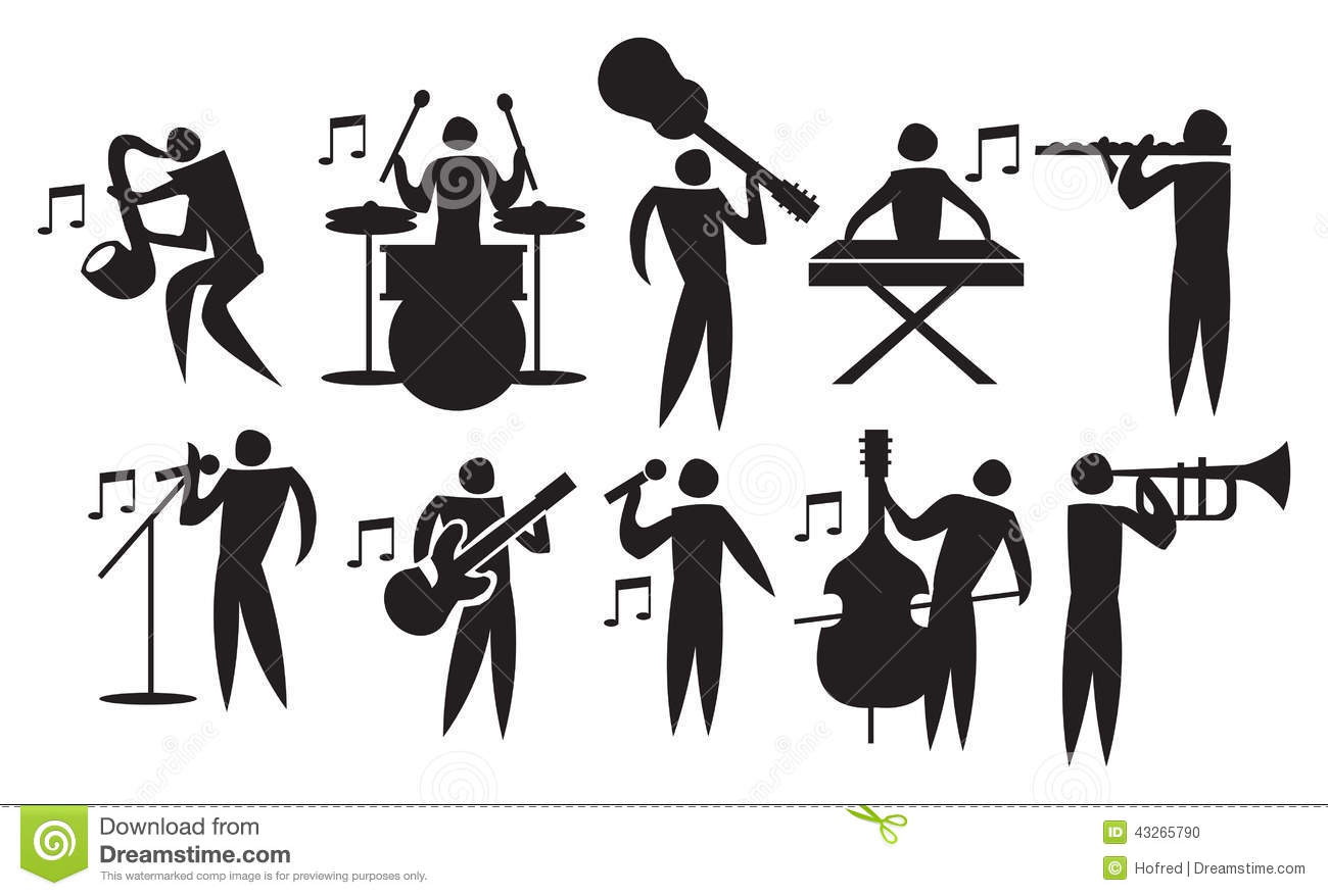 Musician Vector Icon Set Stock Vector Illustration Of