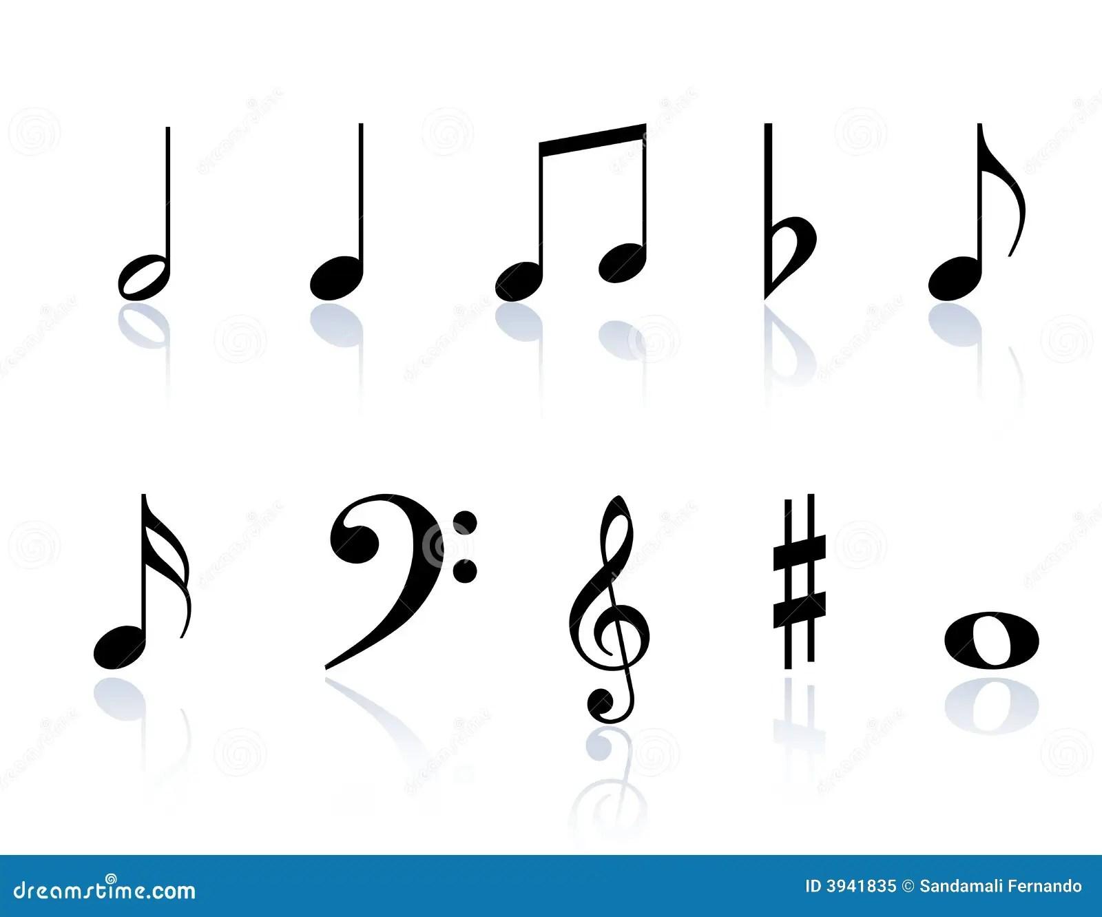 Musik Beachtet Symbole Vektor Abbildung Illustration Von