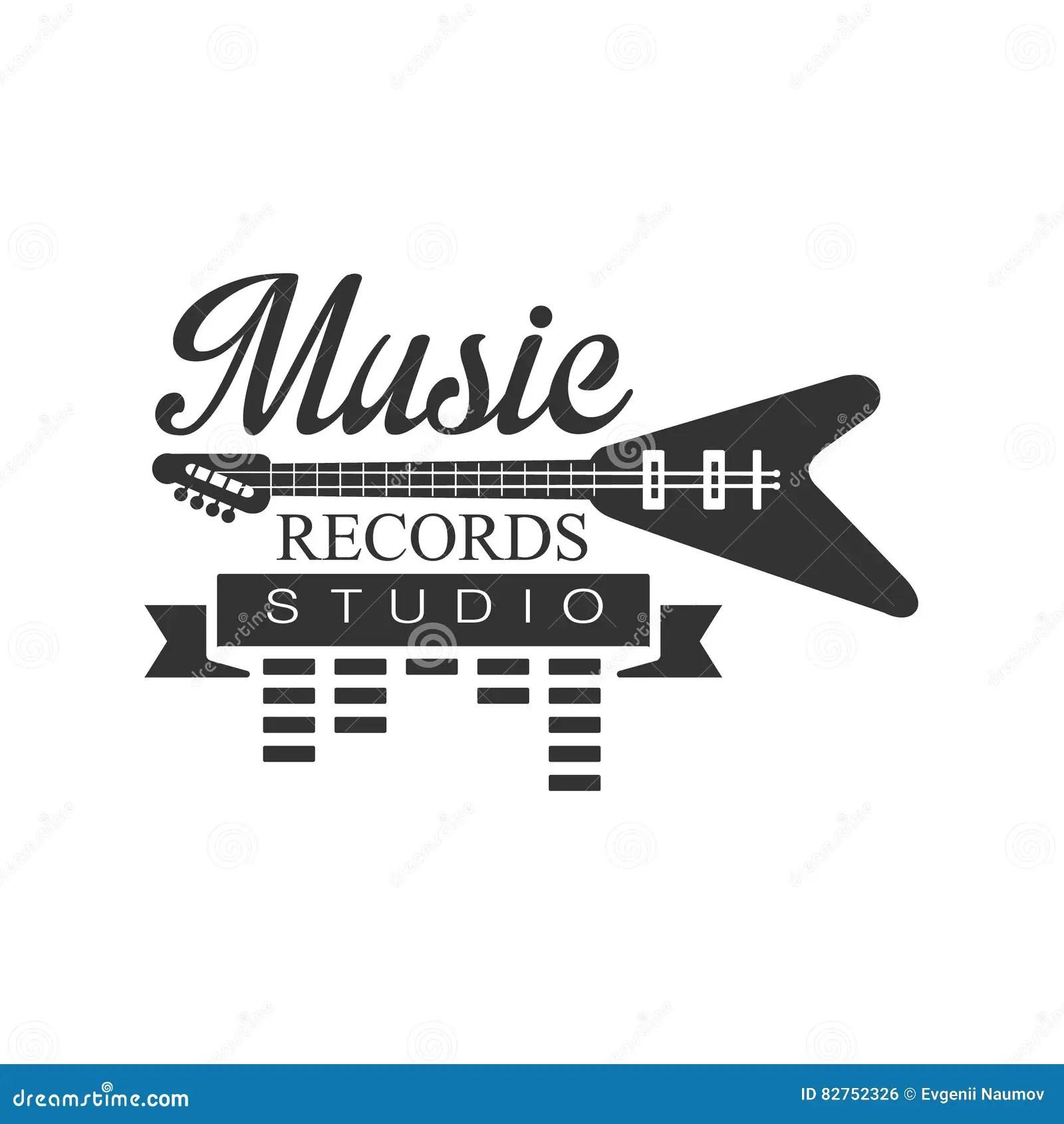 Musik-Rekord- Studio Schwarzweiss--Logo Template With