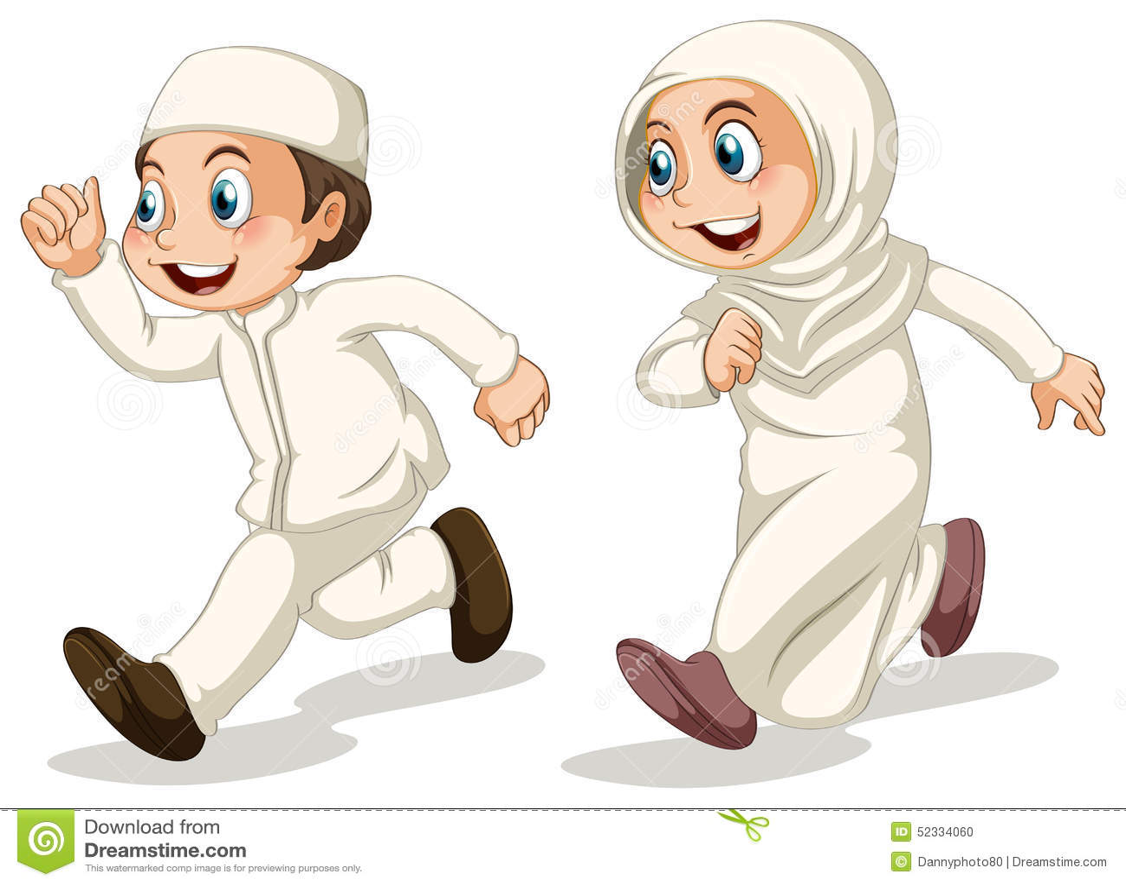 hight resolution of muslim boy and girl running