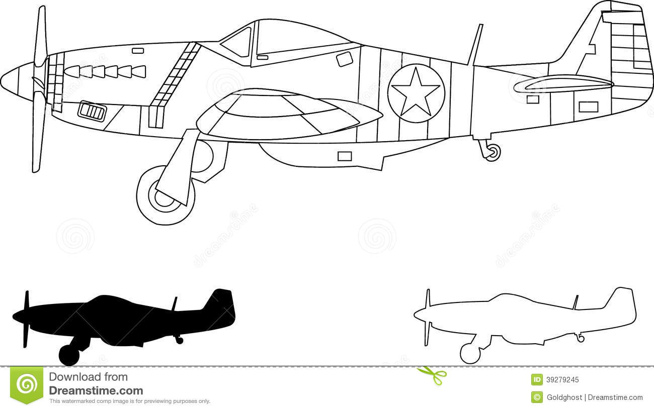 Mustang P51 stock vector. Illustration of mustang, curtiss