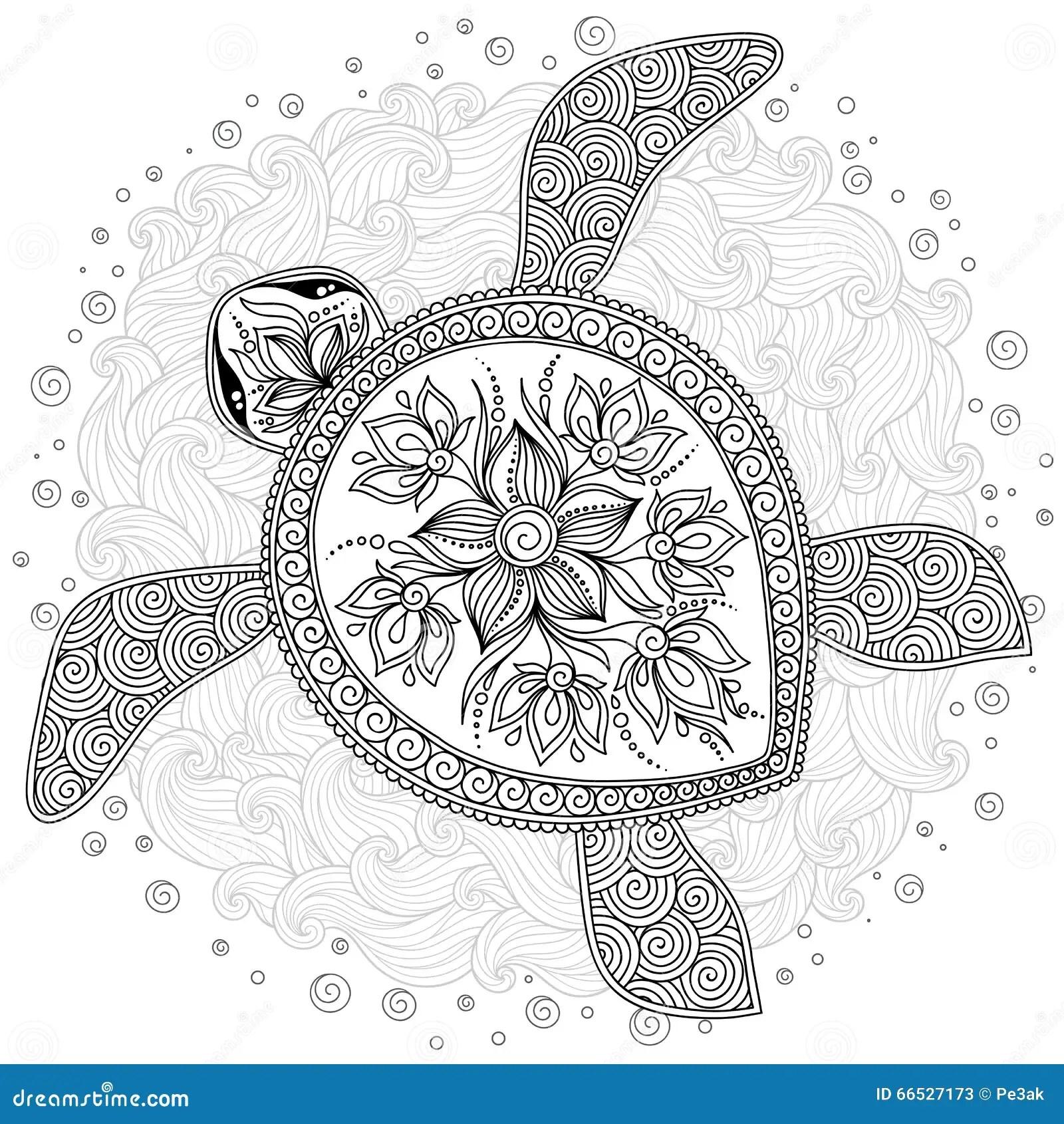 Muster Fr Malbuch Dekorative Grafische Schildkrte Vektor