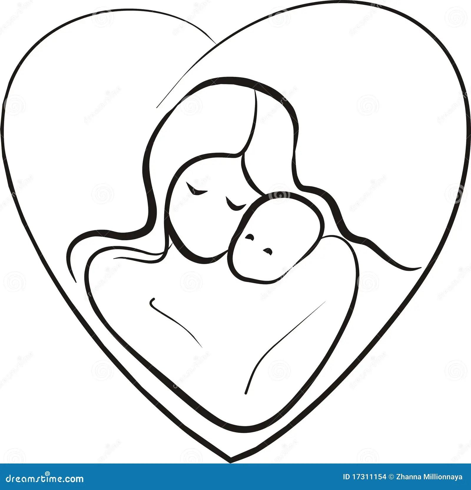 Mutter Und Kindskizze Vektor Abbildung Illustration Von