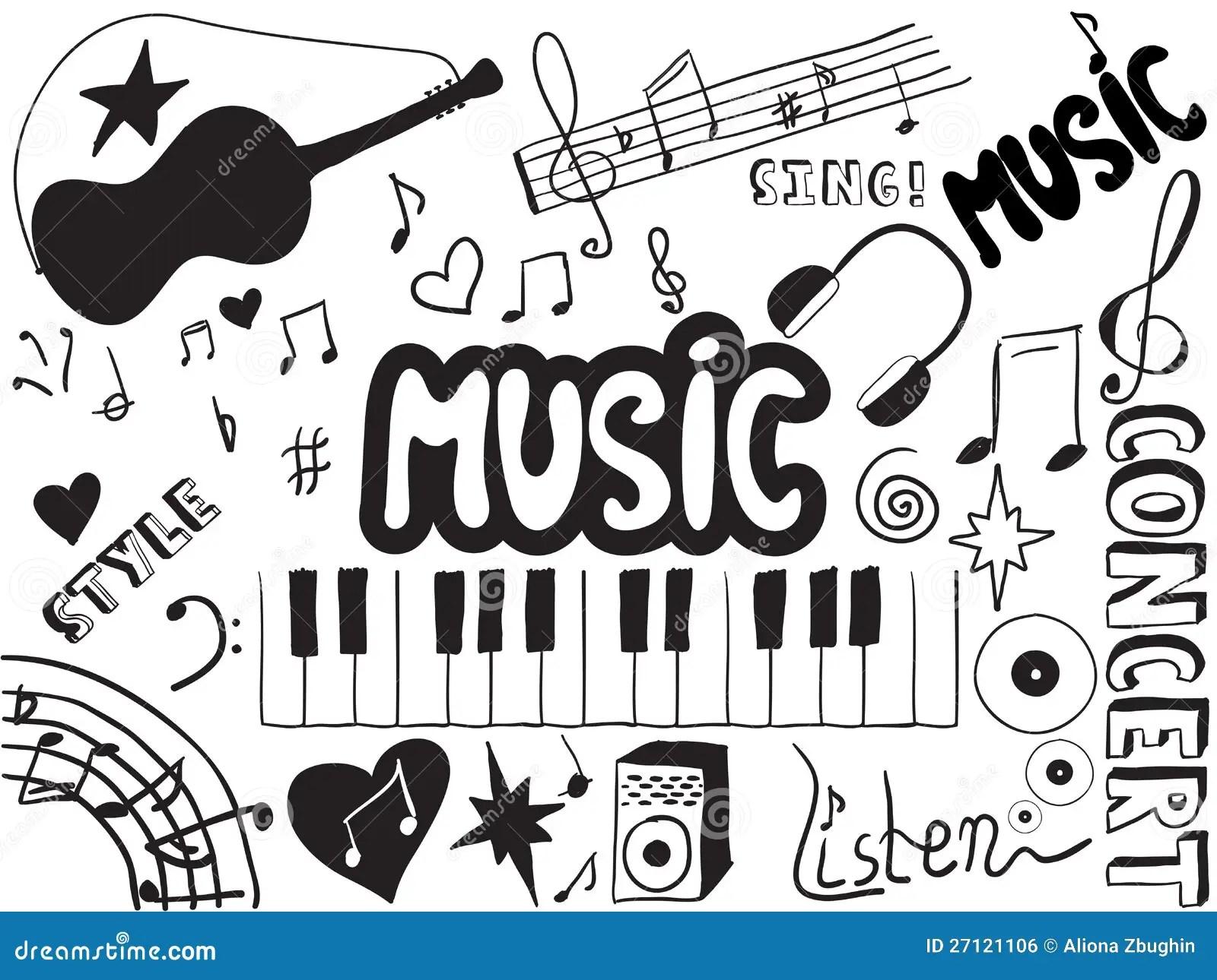 Muzyk Doodles Ilustracja Wektor Ilustracja Z O Onej Z