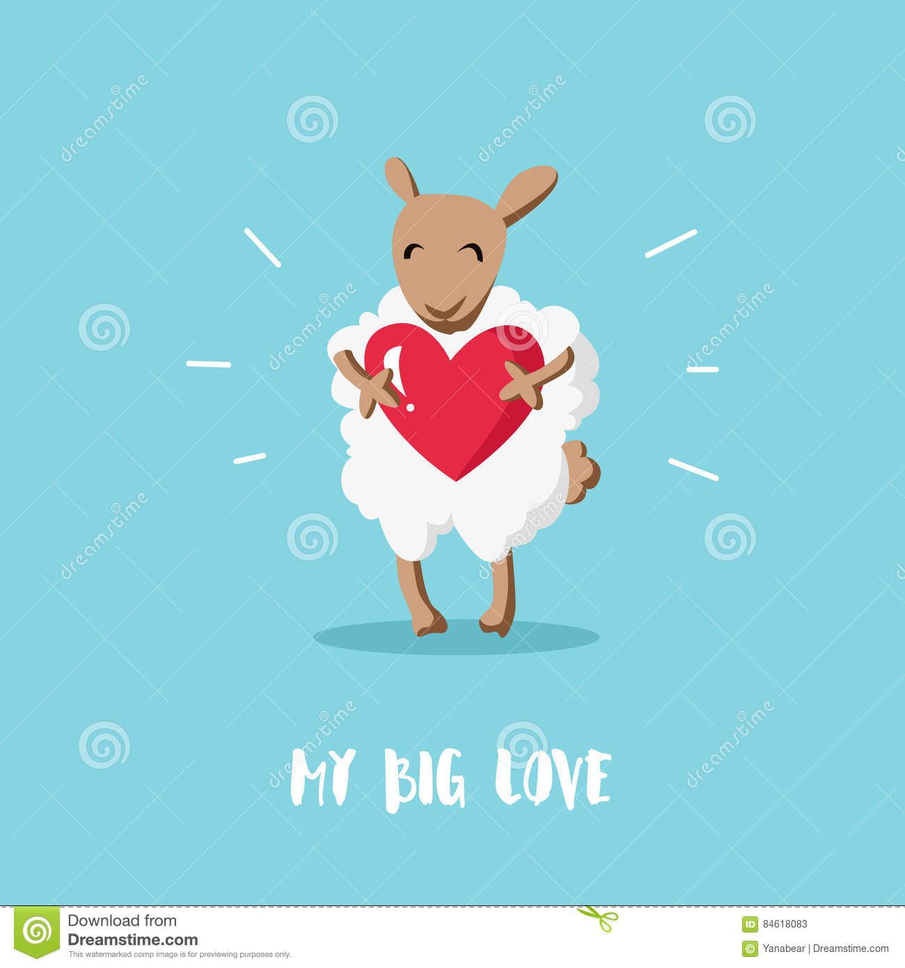 Cute Sheep In Flat Style Vector Illustration