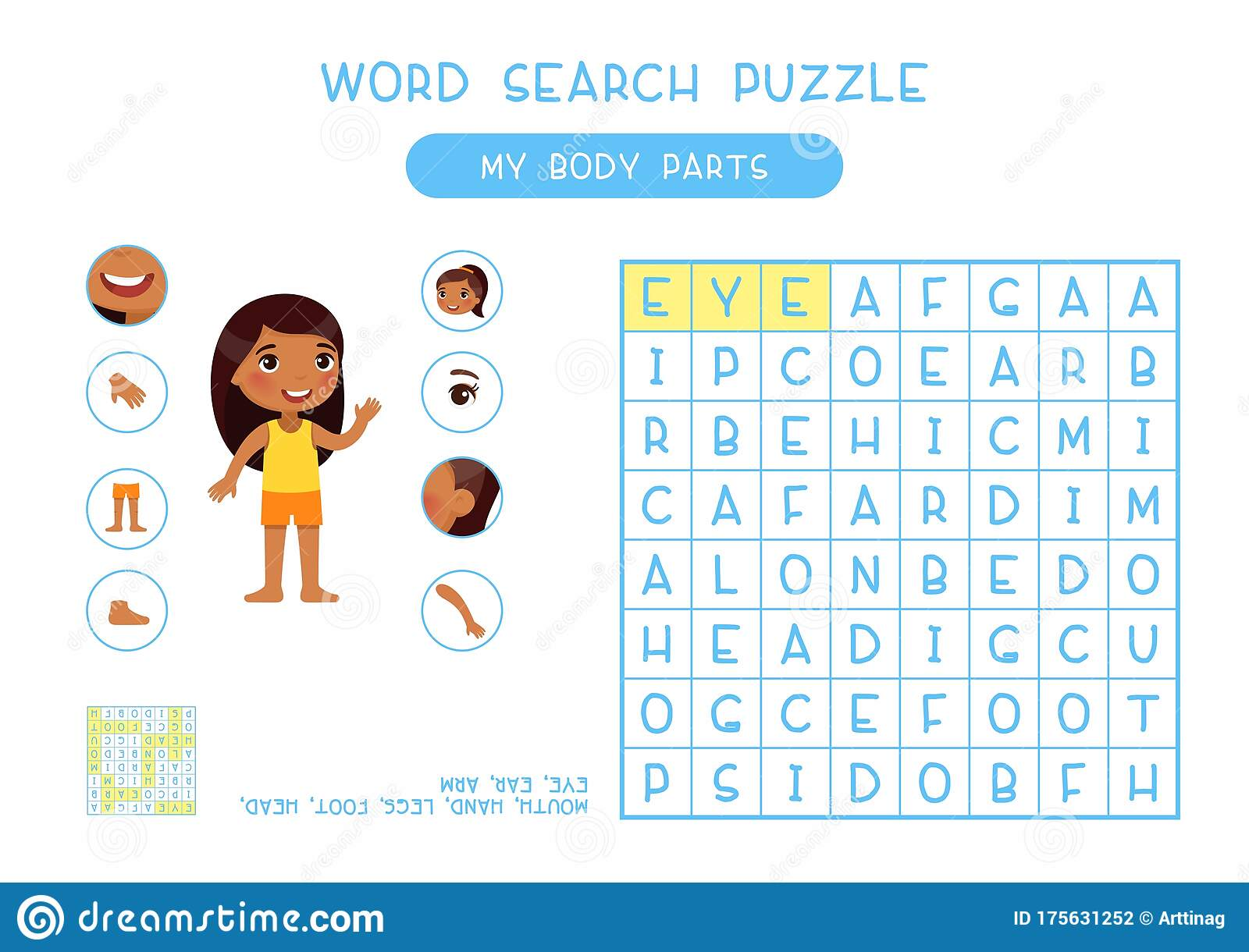 My Body Parts Word Search Puzzle Flat Vector Design Stock